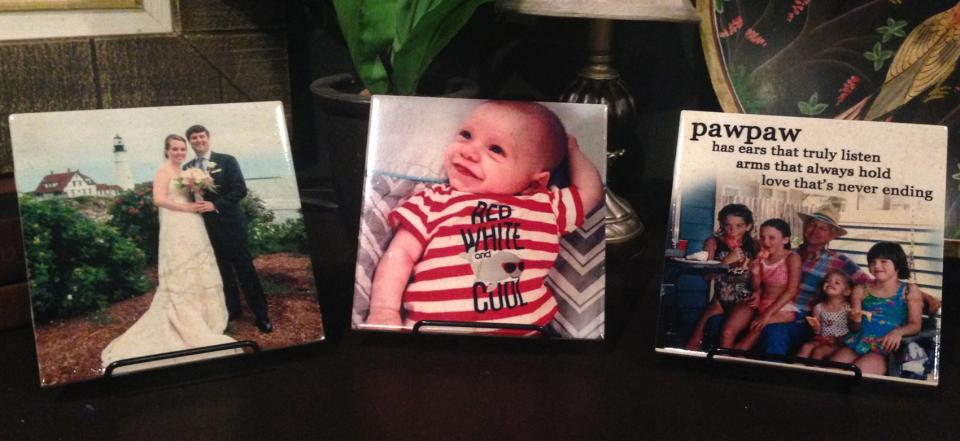 Photo Tiles make the lasting impression by adding your favorite family photos to display around the house.